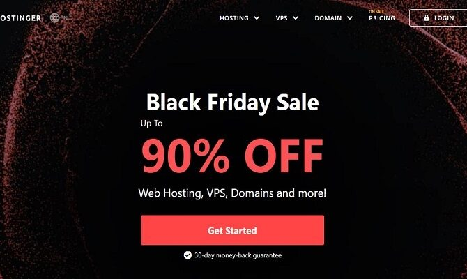 Hostinger Black Friday 2020 Sale : Get 92% Discount