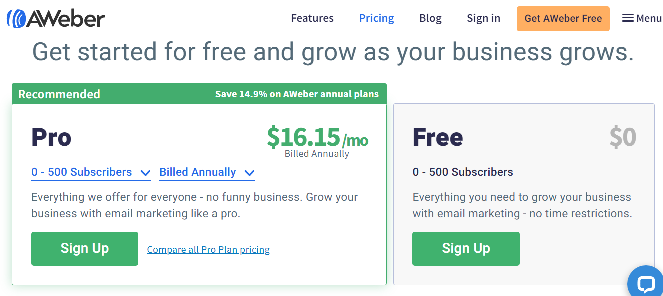 AWeber Pricing and Plans